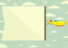 Flugzeug mit Fahne, Vektorillustration Stockfotos