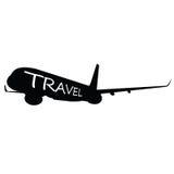 Flugzeug mit Reisewort auf ihm Lizenzfreies Stockfoto