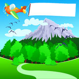 Flugzeug mit weißer Fahne, über dem Berg Lizenzfreies Stockbild