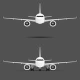 Flugzeug mit zwei Motoren stellte Illustration ein vektor abbildung
