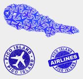 Flugzeug-Mosaik-Vektor Pico Island Map und Schmutz-Dichtungen lizenzfreie abbildung