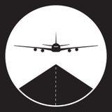 Flugzeug- oder Flughafenikone in Schwarzweiss Lizenzfreie Stockbilder