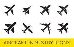 Flugzeug-oder Flugzeug-Ikonen stellten Sammlungs-Vektor SilhouetteSet ein vektor abbildung