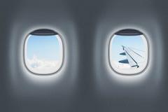 Flugzeug- oder Jet-Innenraum, Flug oder reisendes Konzept Lizenzfreie Stockfotografie