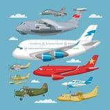 Flugzeug- oder Flugzeug- und Jet-Flugtransport des flachen Vektors im Himmelillustrations-Luftfahrtsatz des Flugzeugs oder Lizenzfreie Stockbilder