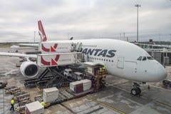 Flugzeug Qantass A380 angekoppelt an Melbouren-Flughafen Stockbild