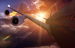 Flugzeug-Reise-Flugzeugverkehr Stockfoto
