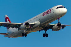 Flugzeug Schweizer-Airbusses A321 Lizenzfreies Stockfoto