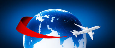 Flugzeug um Erde Stockfotos