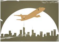 Flugzeug und Skyline Stockfoto
