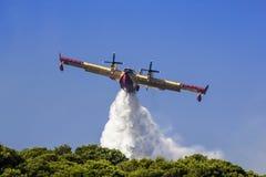 Flugzeugcanadair-WasserWaldbrand Stockfotografie