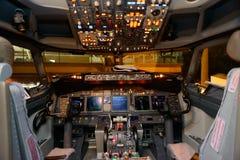 Flugzeugcockpitinnenraum stockfoto