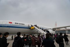 Flugzeuge Air Chinas Airbus an Peking-Flughafen in China stockbild