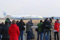 Flugzeuge Antonows An-225 Mriya an Gostomel-Flughafen, Kiew, Ukraine Lizenzfreie Stockbilder