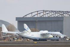 Flugzeuge Antonows An-225 Mriya vor entfernen sich in Gostomel-airpor Stockfotografie