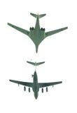 Flugzeuge auf weißem Hintergrund Stockfotografie