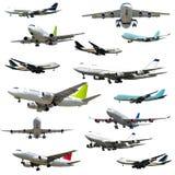 Flugzeuge auf weißem Hintergrund Stockbild