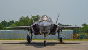 Flugzeuge des Raubvogels F-22 in Changi, Singapur lizenzfreies stockfoto