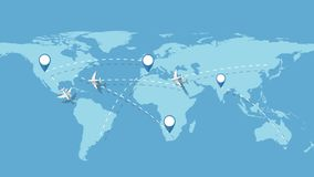 Flugzeuge, die entsprechend Wegen um Welt fliegen stock abbildung