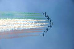 Flugzeuge, die Markierungsfahne von Italien zeigen Stockfotos