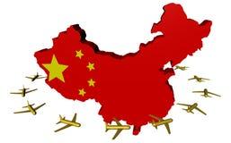 Flugzeuge, die um China-Kartenmarkierungsfahne fliegen Lizenzfreies Stockfoto