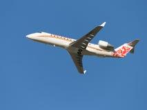 Flugzeuge 100 Fluglinienfliegen des Bombenschützen CRJ-RUSLINE Lizenzfreie Stockfotos