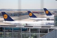 Flugzeuge an Frankfurt-Flughafen Stockfoto