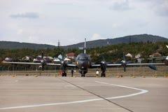 Flugzeuge Ilyushin Il-38 auf einer Ausstellungsfläche Lizenzfreies Stockfoto