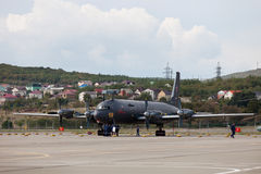 Flugzeuge Ilyushin Il-38 auf einer Ausstellungsfläche Lizenzfreie Stockfotografie