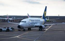 Flugzeuge im Flughafen von Domodedovo. Moskau Lizenzfreies Stockfoto