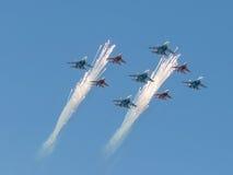 Flugzeuge MiG-29 und Su-27 Stockfotografie