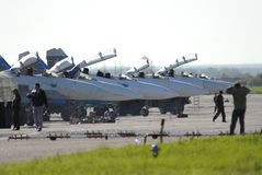 Flugzeuge SU 27 am Flughafen bevor dem Fliegen Lizenzfreies Stockbild