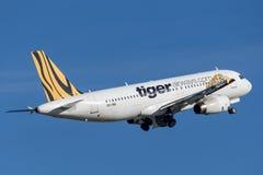 Flugzeuge Tiger Airways Tigerair Airbuss A320 Lizenzfreie Stockfotografie