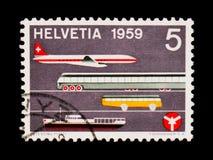Flugzeuge, Zug, Sammelband, Schiff und Ausweis, Verkehrs-Haus-Luzern-serie, circa 1959 Lizenzfreie Stockfotos