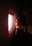 Flugzeugfenster Stockfoto