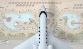Flugzeugfliege über Restzone Beschneidungspfad eingeschlossen Wiedergabe 3d Stockbilder