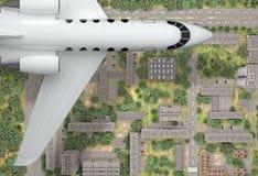 Flugzeugfliege über Stadt Beschneidungspfad eingeschlossen Wiedergabe 3d Lizenzfreie Stockfotos