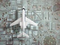Flugzeugfliege über Stadt Beschneidungspfad eingeschlossen Wiedergabe 3d Stockfotografie