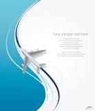 Flugzeugfliegen auf Linie Hintergrund Stockbild