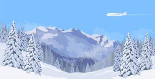 Flugzeugfliegen in einer Schneegebirgswinterlandschaft des blauen Himmels Tannenbaum-Waldhintergrundreisefahnen-Schablonenvektor Stockbild
