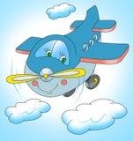 Flugzeugfliegen im Himmel, Karikatur Stockfotos