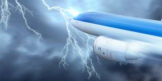 Flugzeugfliegen im stürmischen Himmel Gemischte Medien Lizenzfreie Stockfotos