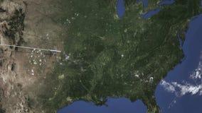 Flugzeugfliegen nach Nashville, Vereinigte Staaten auf der Karte Animation der Intro 3D lizenzfreie abbildung