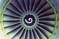 Flugzeugjet-Flugmotorblatt-Ansichtmitte lizenzfreies stockbild