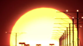 Flugzeugländer bei Sonnenuntergang stock footage