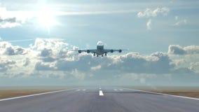 Flugzeugländer gegen einen Himmelhintergrund lizenzfreie abbildung