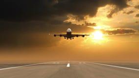 Flugzeugländer gegen Sonnenunterganghintergrund vektor abbildung
