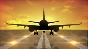 Flugzeuglandung im Schattenbild gegen einen orange Sonnenunterganghimmel stock abbildung