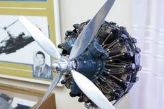 Flugzeugmotor im zentralen Haus von Luftfahrt und von Cosmonautic stockfoto