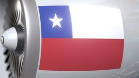 Flugzeugmotor mit Flagge von Chile, chilenischer Lufttransport bezog sich Animation 3D stock video footage